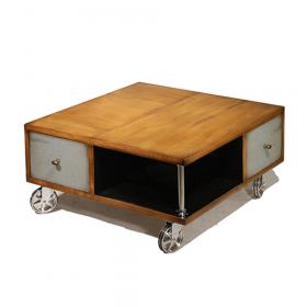 Table Basse Baby Box couleur Merisier doré - Noir - Gris souris patine jadis