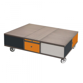 Table basse Rolling Box sur roulettes couleur Anthracite - orange