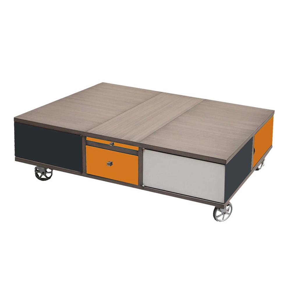 Table basse Rolling Box sur roulettes couleur Anthracite - orange