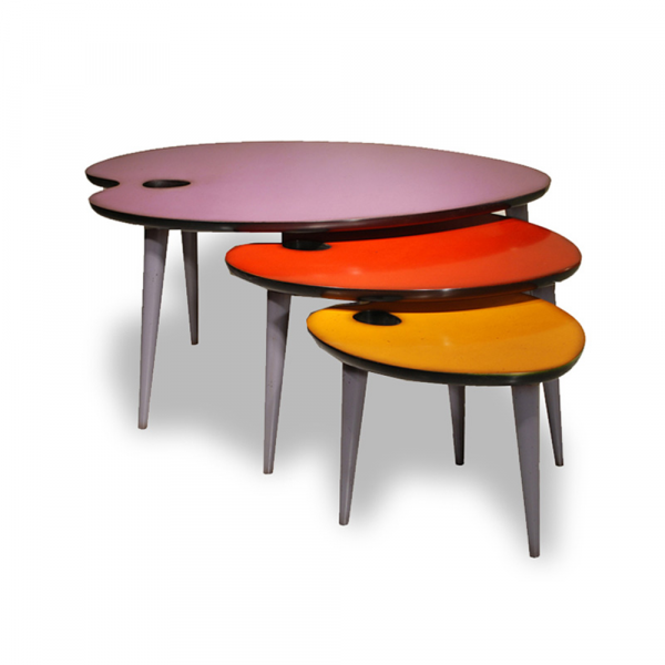 Tables gigognes modulables pieds multi-couleurs