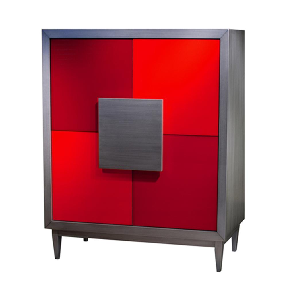Armoire 2 portes, 2 tiroirs et 6 étagères réglablescouleur Métal brossé - Cerise - Rouge écarlate