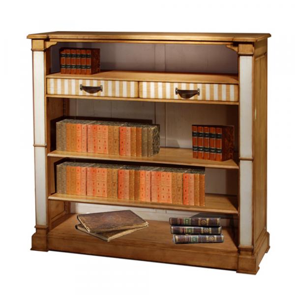 Bibliothèque Éloïse 2 tiroirs - 2 étagères réglables Merisier doré - Nougat