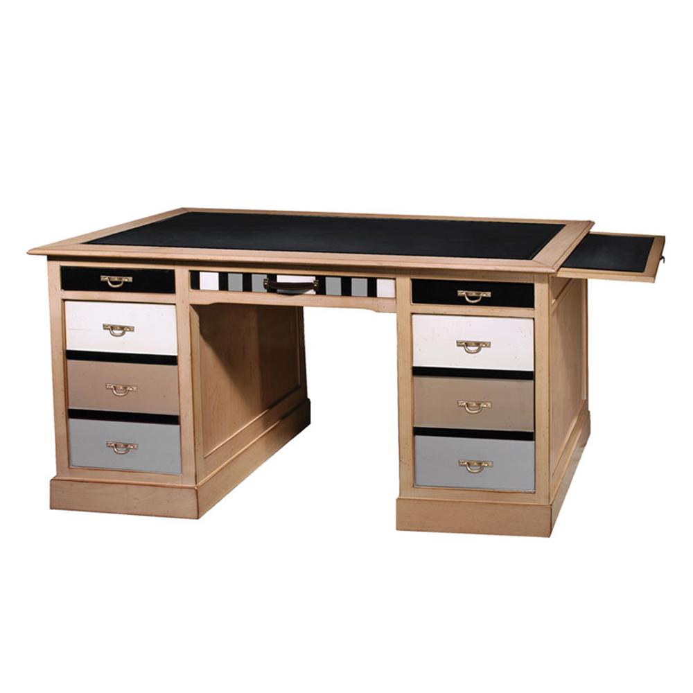 Bureau 3 tiroirs - 2 portes - bannettes amovibles Merisier laiteux - Noir - Nougat - Praline - Tourterelle