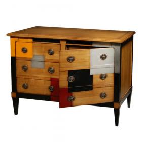 Commode 2 portes, 1 tiroir à l'intérieur - Merisier doré - Cerise - Noir - Alu - Orange porte ouverte
