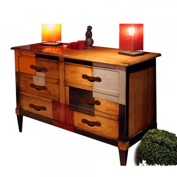 Commode 2 portes, 1 tiroir à l'intérieur - Merisier doré - Cerise - Noir - Alu - Orange vue de coté
