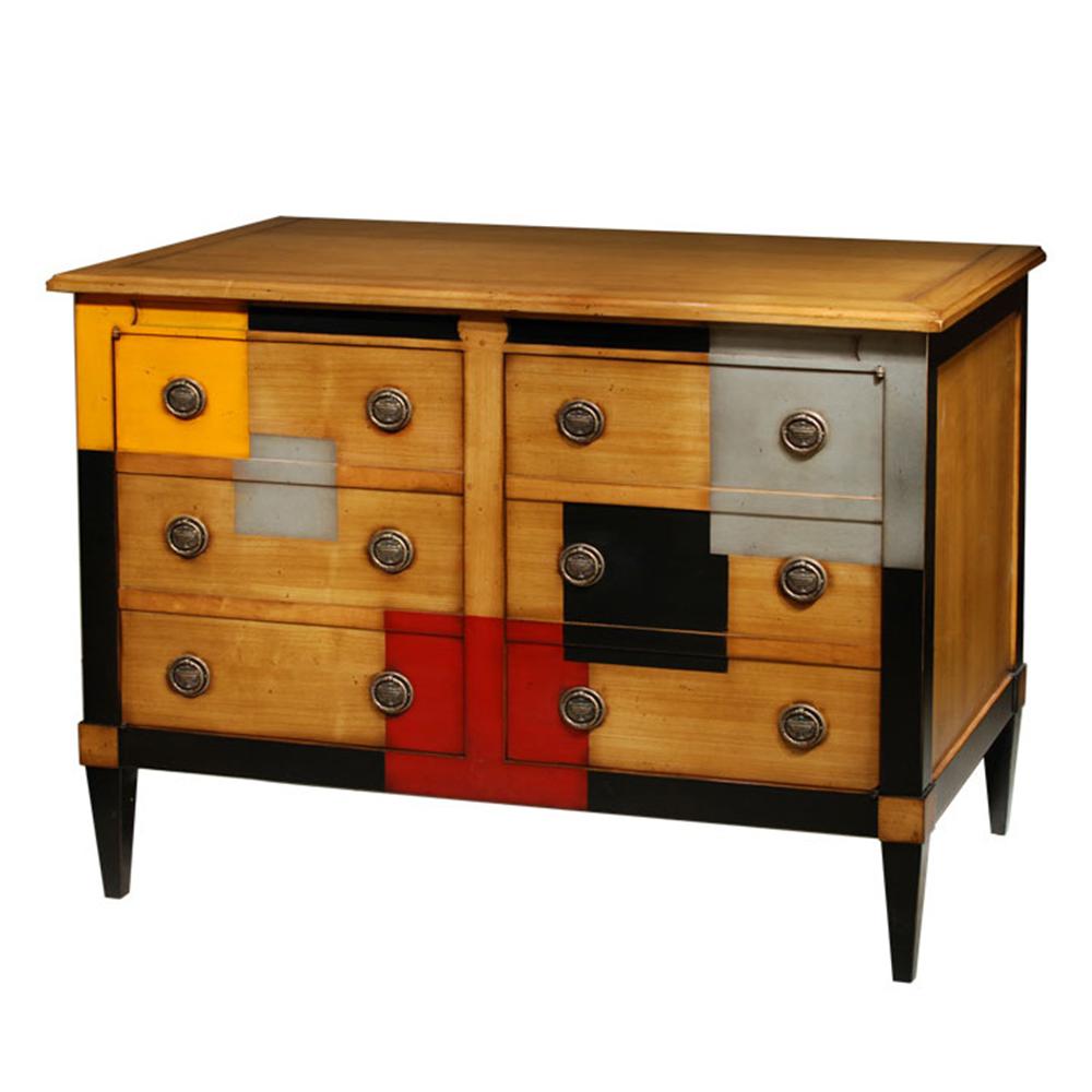 Commode 2 portes, 1 tiroir à l'intérieur - Merisier doré - Cerise - Noir - Alu - Orange