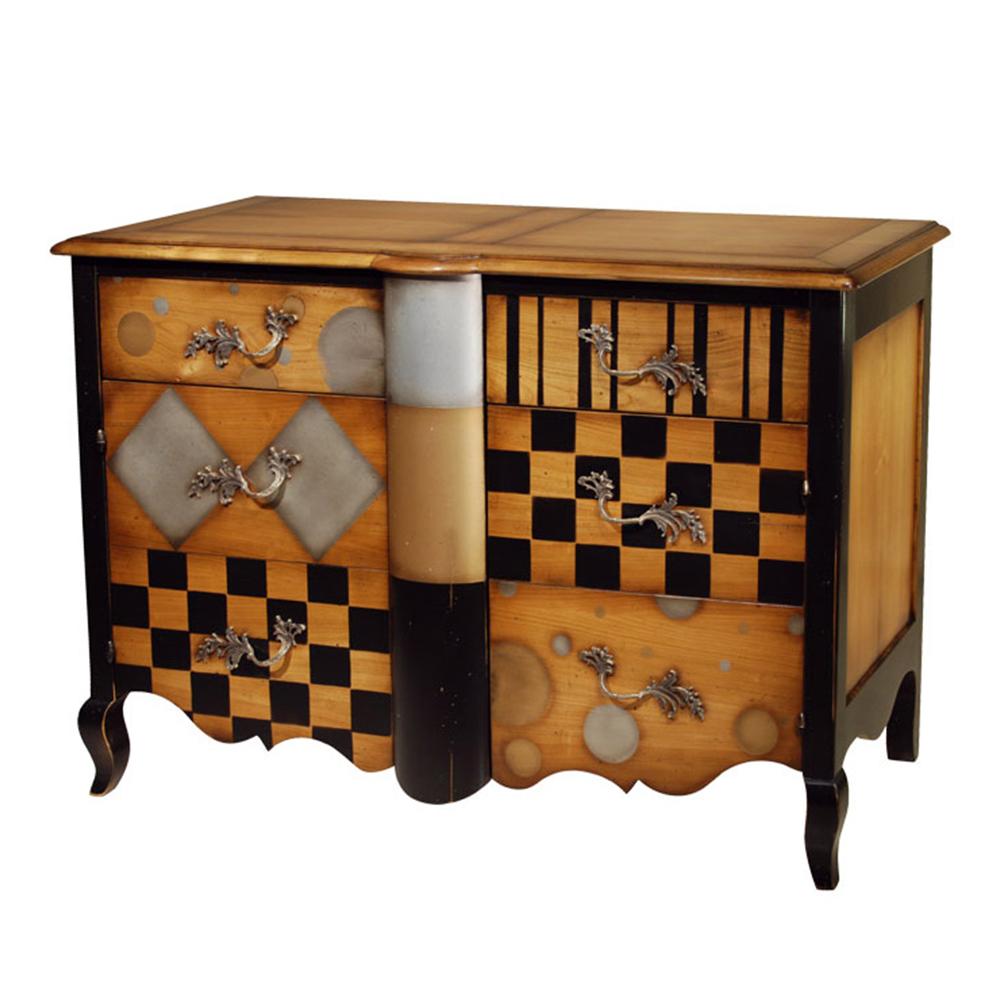 Commode 2 tiroirs, 2 portes avec étagères réglables Merisier doré - alu - or - noir-