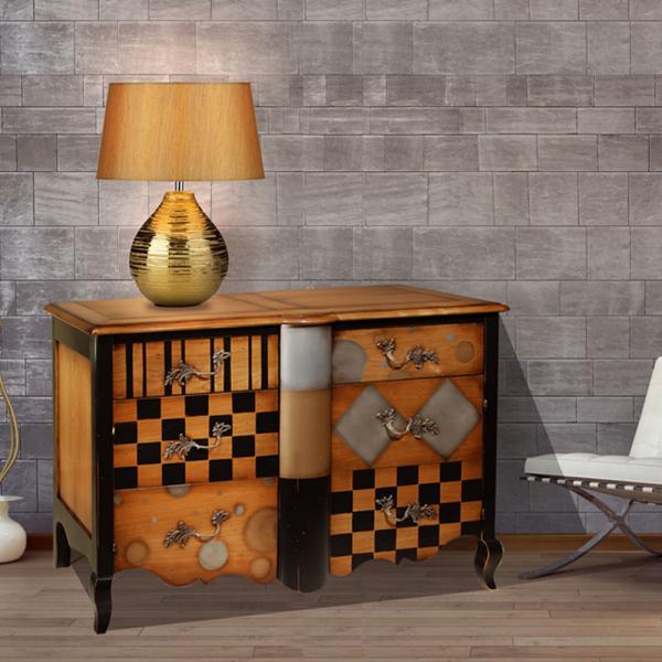 Commode 2 tiroirs, 2 portes avec étagères réglables Merisier doré - alu - or - noir- intérieur