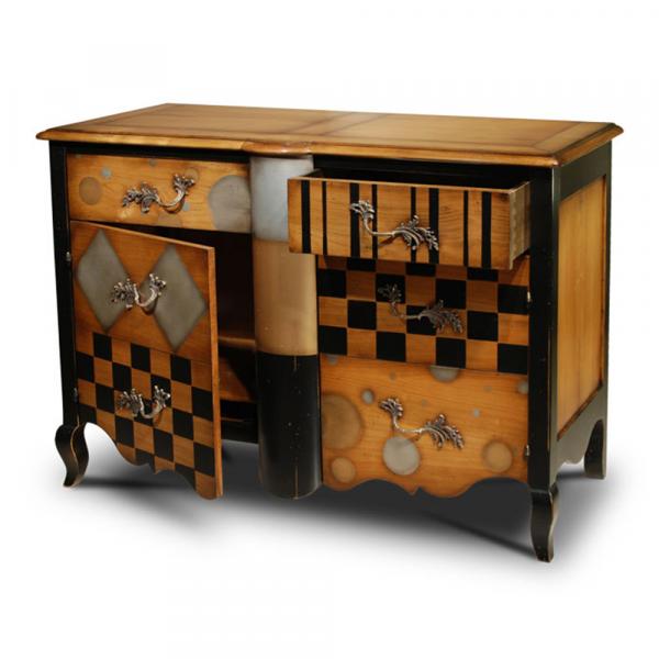 Commode 2 tiroirs, 2 portes avec étagères réglables Merisier doré - alu - or - noir- porte ouverte