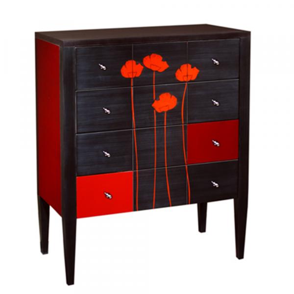 Commode 4 tiroirs Pochoir motif Coquelicot couleur Noir et cerise brossé - Écarlate - Coquelicot