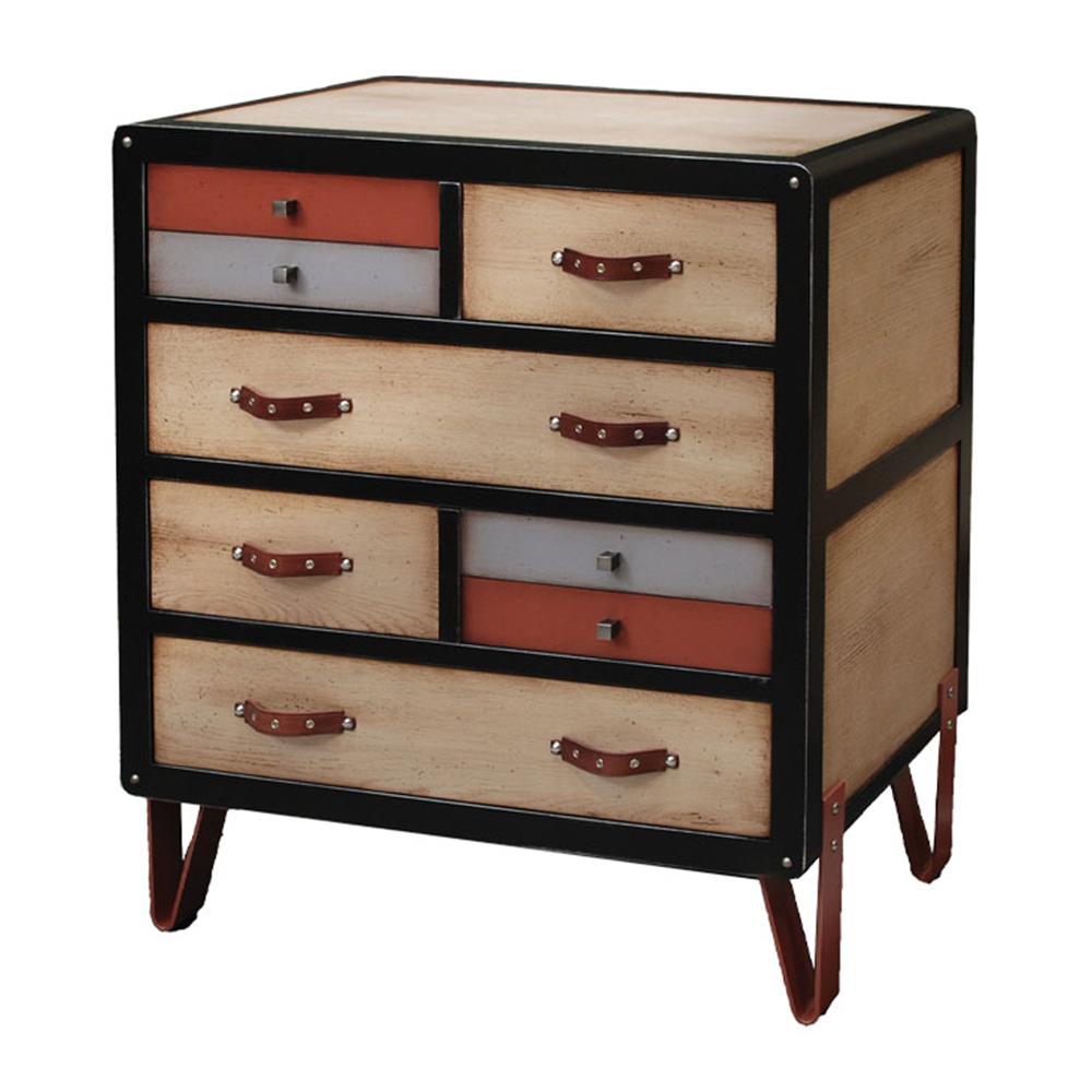 Commode 4 tiroirs, pieds Ref 981 couleur Chêne naturel - noir - Tampico - Tourterelle