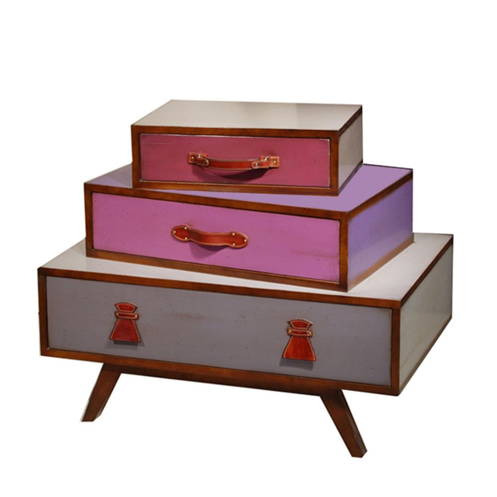 Commode Tiphaine 3 tiroirs. Poignées Cuir couleur Merisier belle andrine - Tourterelle - Prune - Lavande - Lilas - Gris condor