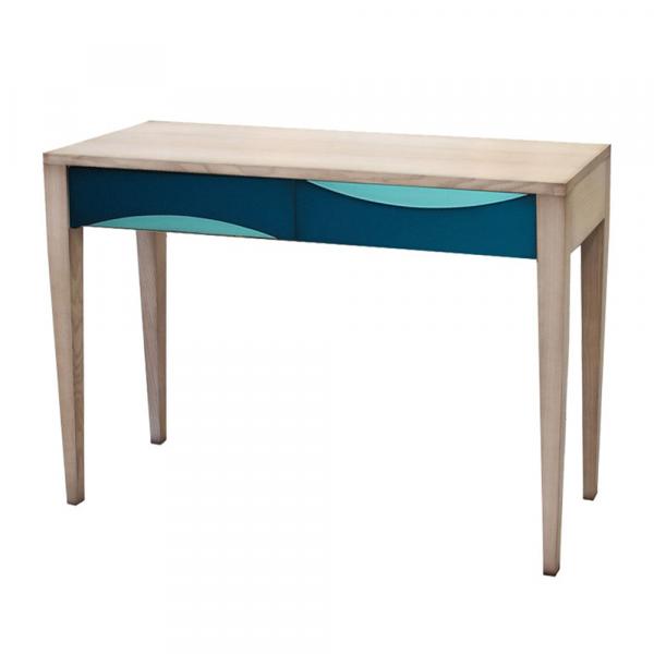 Console 2 tiroirs Chêne hydro - Turquoise - Bleu océan