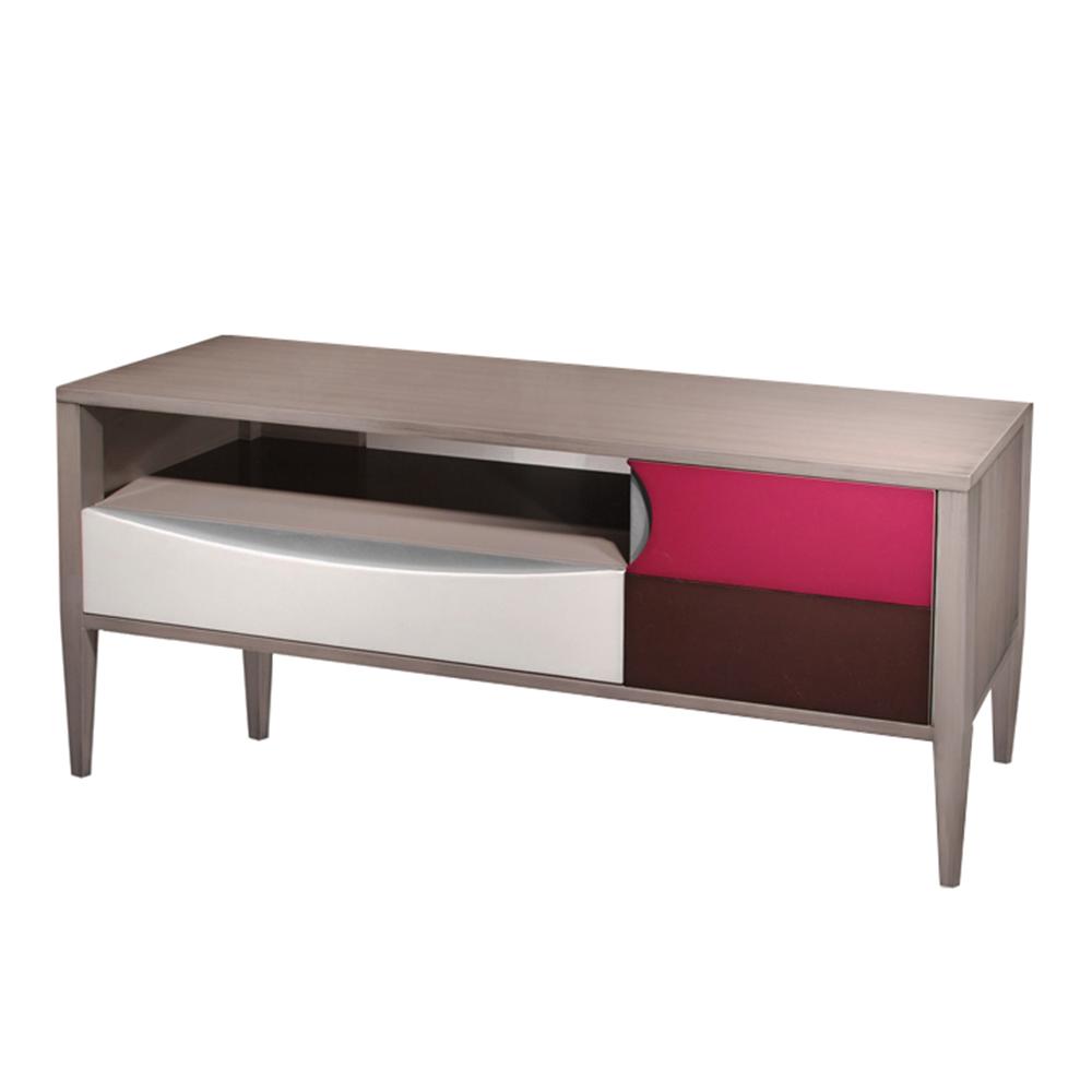 Meuble TV 1 niche - 1 tiroir sur coulisses - 1 porte couleur Praline brossé - Nougat - Fuchsia - Chocolat