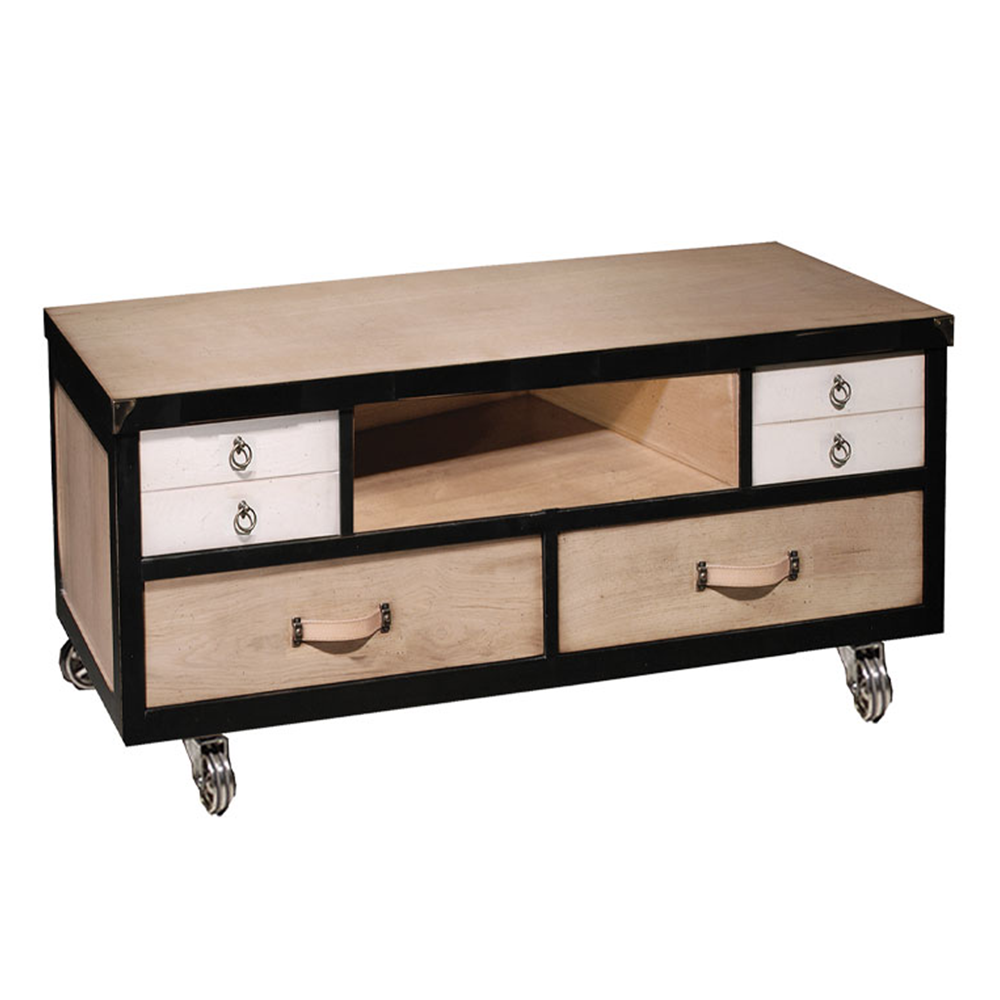 Meuble TV 2 tiroirs - 1 niche - 2 tiroirs avec abattant Chêne naturel - Noir - Nougat + roues