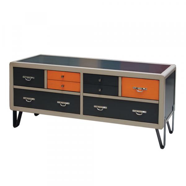 Meuble TV 4 tiroirs abattants - pieds en Fer laqué - poignées alu ou cuir couleur Anthracite - lin - Orange