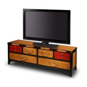 Meuble TV 4 tiroirs avec abattants Merisier doré - Cerise - Noir