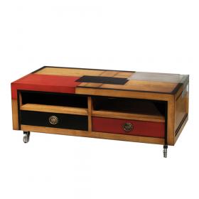 Meuble TV Loft sur roulettes Merisier doré - noir avec carrés noir-cerise-alu patine jadis
