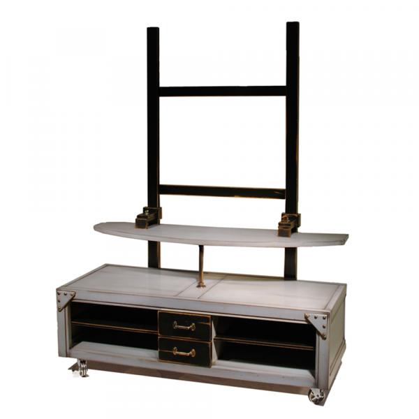 Meuble TV Loft sur roulettes avec portique couleur gris souris - Noir patine jadis