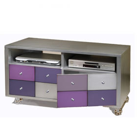 Meuble TV sur roulettes 2 niches - 2 portes couleur Métal brossé - lilas - Violet Cobalt - Gris condor - Alu