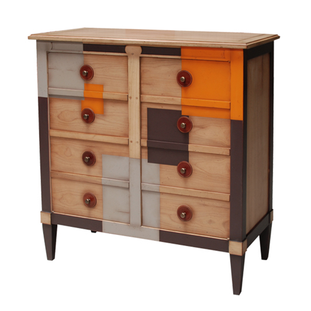 Meuble de rangement 2 portes avec 2 tiroirs Merisier laiteux - Chocolat - Lin - Orange patine jadis ronds cuir