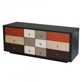 Meuble télévision sur socle couleur Anthracite brossé - Tampico - Chocolat - Nougat - Praline
