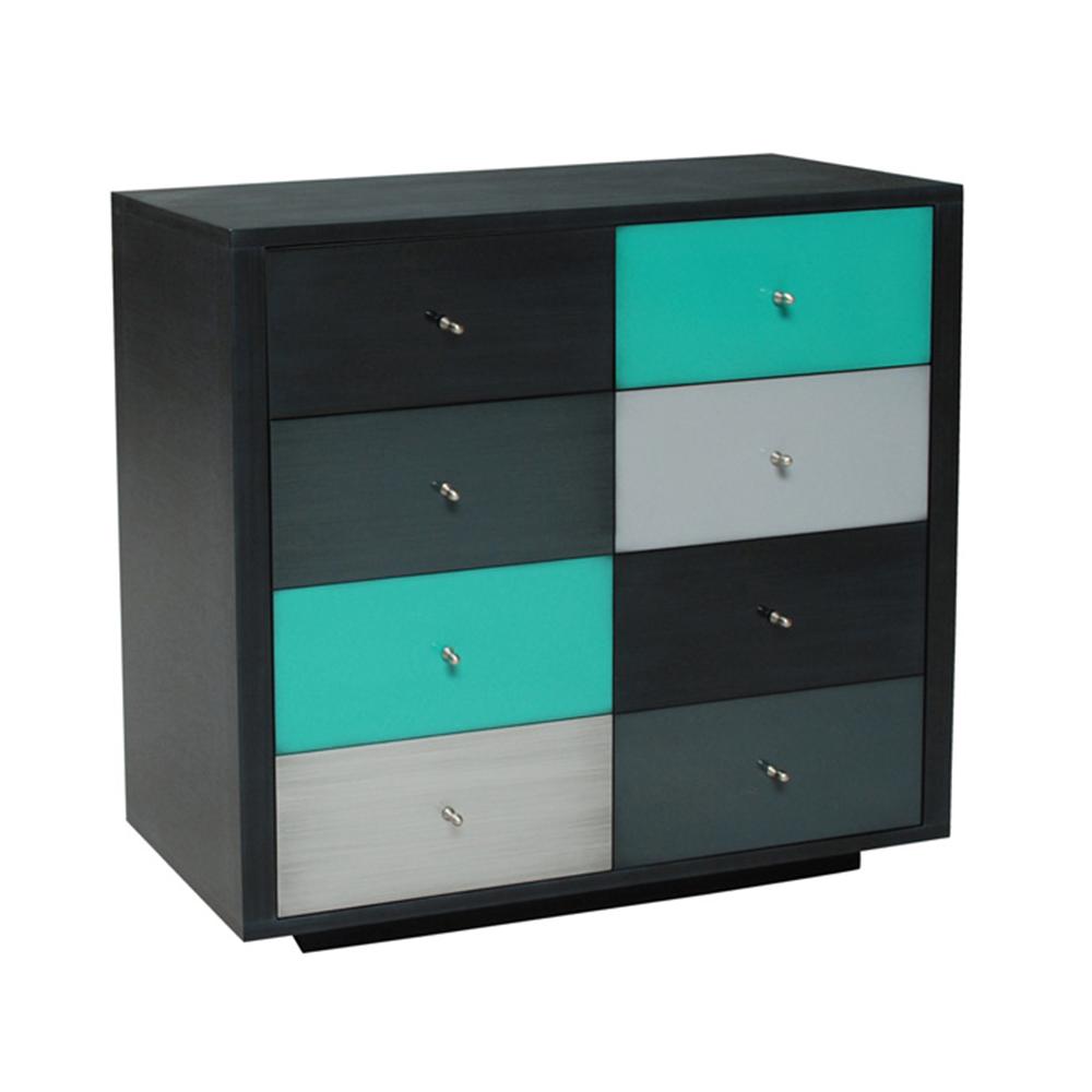 Petite commode sur socle couleur Noir brossé - Anthracite brossé - Turquoise Souris