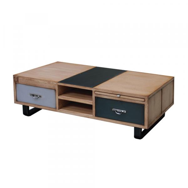 Table basse - 2 tiroirs - 2 tirettes