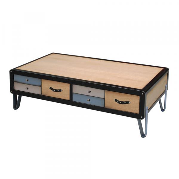 Table basse 2 tiroirs - 2 tirettes - Pieds en Fer laqué couleur Chêne naturel - Noir - Tourterelle - Abysse