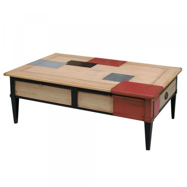 Table basse Trianon Chêne naturel - Cerise - Noir - Alu