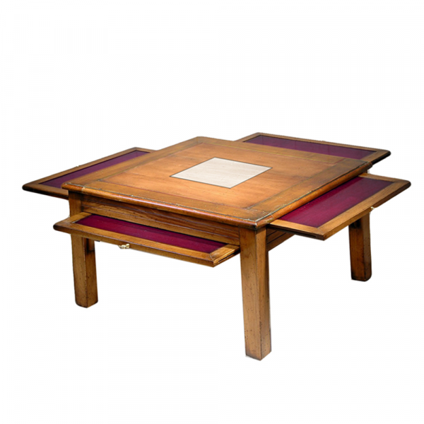 Table basse Pauline 4 tirettes couleur Merisier doré - Nougat - Prune