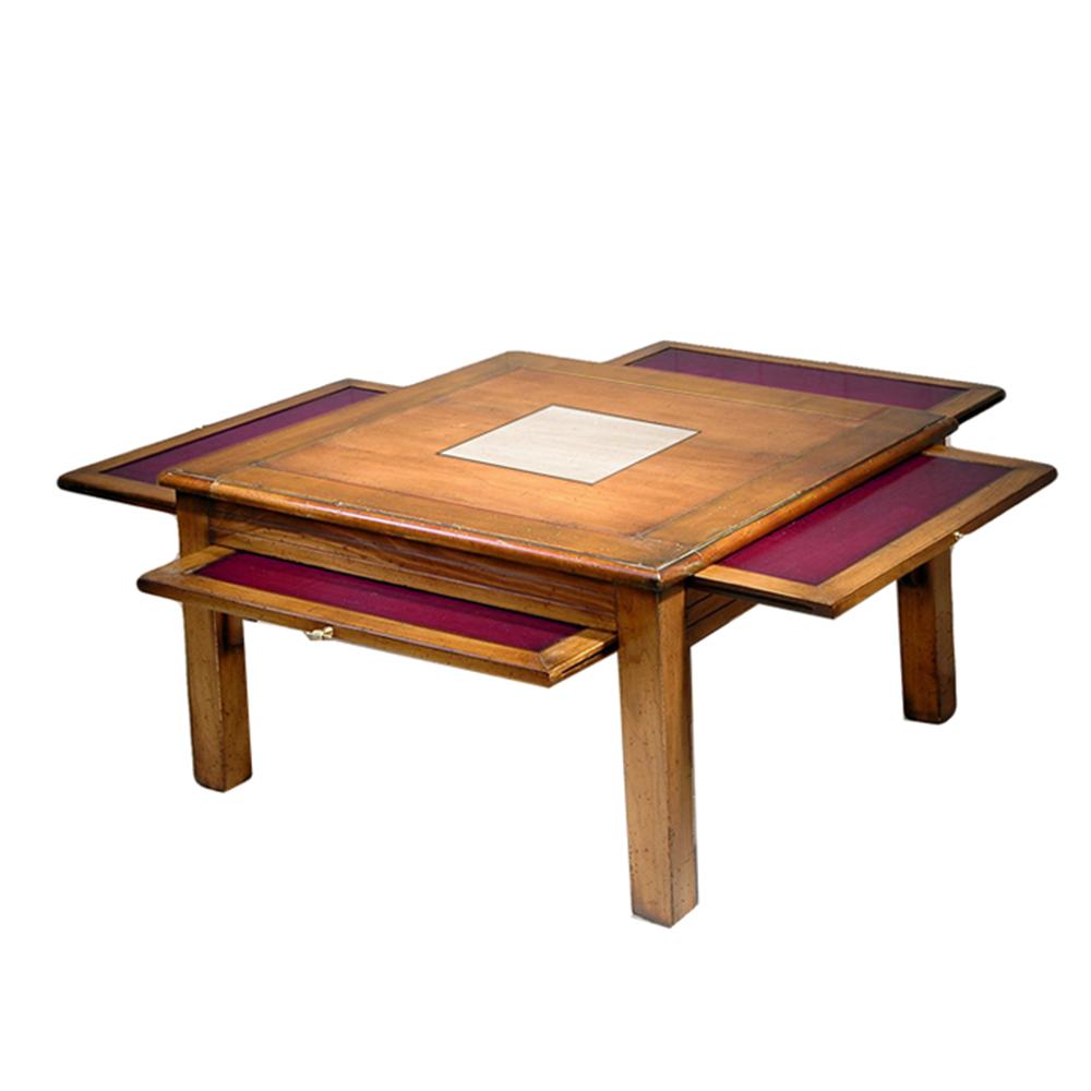 Table basse Pauline 4 tirettes couleur Merisier doré - Nougat - Prune