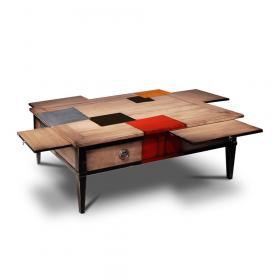 Table basse couleur Merisier laiteux - cerise - noir - alu - orange