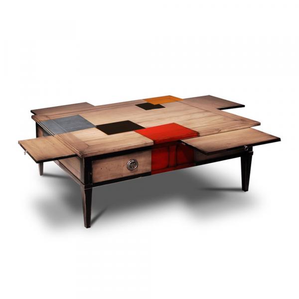 Table basse couleur Merisier laiteux - cerise - noir - alu - orange