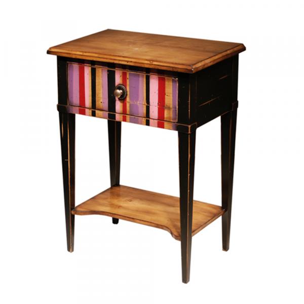 Table de Chevet 1 tiroir - 1 tablette Merisier doré - Noir avec motif rayure multicolore - Patine