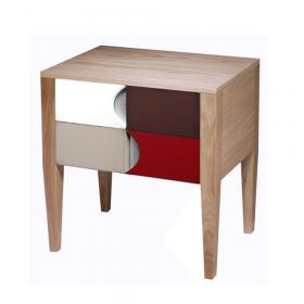 Table de Chevet 2 portes Chêne hydro laiteux - Blanc - Chocolat - Praline - Cerise