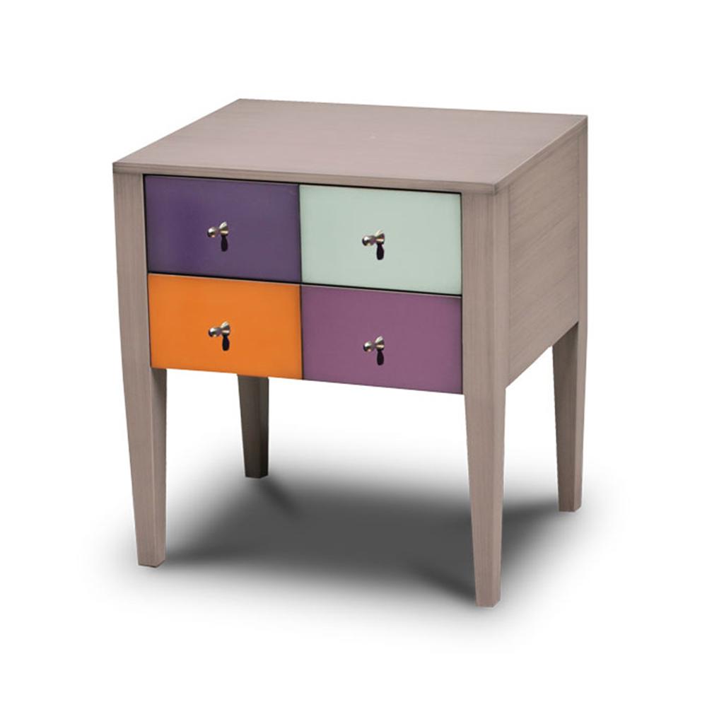 Table de Chevet 2 tiroirs couleur Praline brossé - Turquoise pastel - Lilas - Cobalt - Orange
