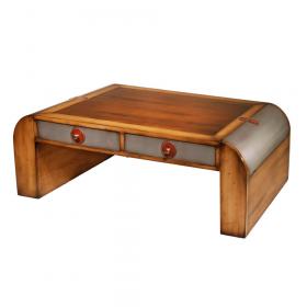 Table de Salon 2 tiroirs-tirettes et 2 coffres Merisier doré - Belle Andrine - Alu
